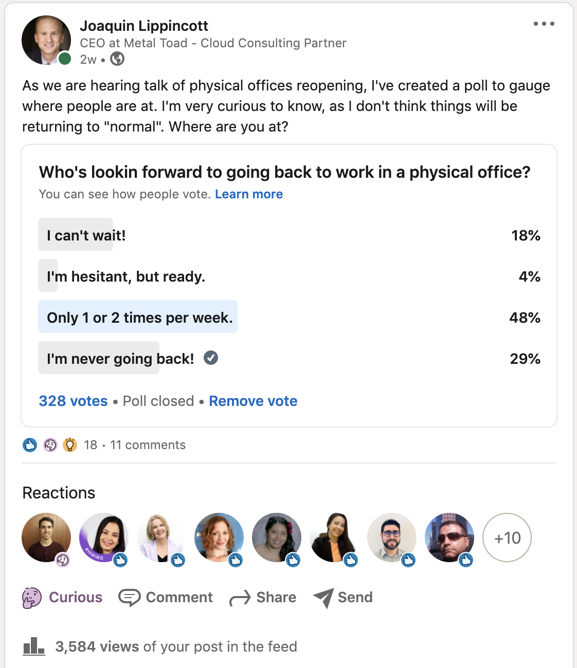 whos ready to go back into the office survey